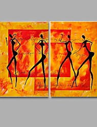 Hand-painted Abstract Nude Oil Painting 2 Piece/Set Wall Art with Stretched Frame