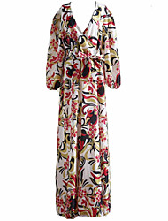 Women's Simple Floral Swing Dress,Deep V Maxi Polyester