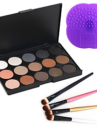 15 Colors 2in1 Matte&Shimmer Smoky Eyeshadow/Eyebrow Powder Cosmetic Palette+4PCS Eyeshadow Brush+1 Brush Pad
