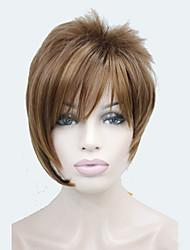 moyenne fraise auburn mélange blondes bangs inclinées asymétriques courte ligne droite perruque de cheveux synthétiques pour femmes