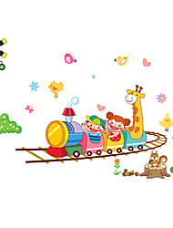 Kids Bedroom Cartoon Train Animals Wall Stickers Environmental Kindergarten Wall Art PVC Wall Decals