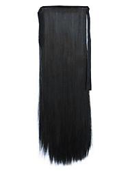 Preto Comprimento 60 centímetros tipo de ligação sintética reta longa peruca de cabelo de rabo de cavalo (cor 1)
