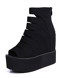 Women's Summer Wedges / Peep Toe PU Office & Career / Casual / Party & Evening Wedge Heel Hollow-out Black
