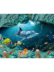 JAMMORY Art Deco Wallpaper Contemporary Wall Covering,Canvas Stereoscopic Large Mural Big Green Underwater World Dolphin