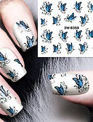 Fashion Printing Pattern Water Transfer Printing  Blue Butterfly Nail Stickers