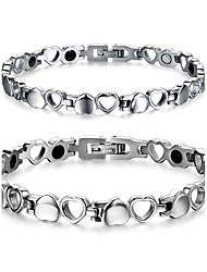Couple's Jewelry Health Care Silver Titanium Steel Magnetic Therapy Bracelet Fashion Gift Jewelry