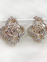 Noble and Elegant Style of the Four Petal Rose Diamond Lady Earrings