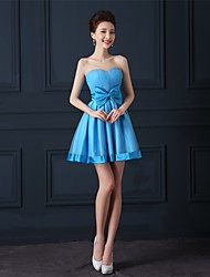 Short / Mini Tulle Bridesmaid Dress A-line Sweetheart with Bow(s)