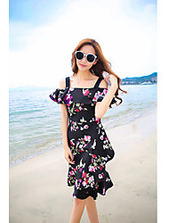 Women's Beach Simple Sheath Dress,Floral Boat Neck Knee-length Short Sleeve Black Polyester Summer