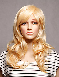 Capless Long Synthetic Blonde Wavy Synthetic Womens Wigs
