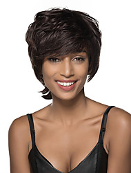 Attractive Short Layered Wave Monofilament Top Human Hair Wig