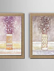 Pintados à mão Floral/Botânico Modern,2 Painéis Hang-painted pintura a óleo