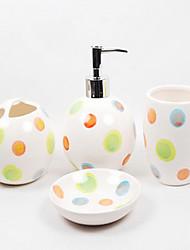 multicolour round dot bathroom Four piece suit(Random color)