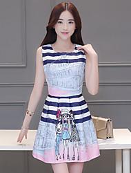 De las mujeres Línea A Vestido Simple Estampado Mini Escote Redondo Poliéster