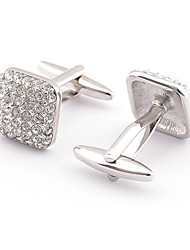 Men's Fashion Crystal Silver Alloy French Shirt Cufflinks (1-Pair)