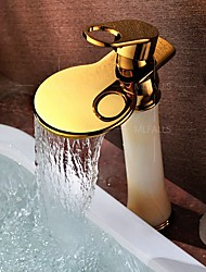 Bathroom Waterfall Faucet Gold Finish Tall Mixer Single Handle Round Spout Sink Tap Luxury