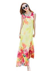 2016 Summer New Bohemian Beach Long Chiffon Flower Print Dress