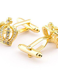 Men's Fashion Gold Crown Alloy French Shirt Cufflinks (1-Pair)