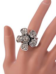 VIntage Style Flower Silver Statemenr Rhinestone Crystal Adjustable Ring