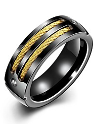Individual Generous  Men's Golden Stripes Stoving Varnish Titanium Steel Statement Rings(Gold-Black)(1Pc) Christmas Gifts