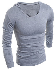 Hot Men Clothes T Shirt High-Elastic Cotton Men's Short Sleeve U Neck Tight Shirt Male Hooded T-Shirt