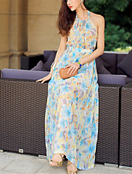 SINCE THEN Women's Sexy / Boho Floral Swing Dress,Halter Maxi Polyester