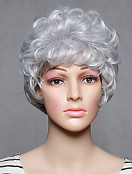 Capless Short Synthetic White Wavy Synthetic Womens Wigs