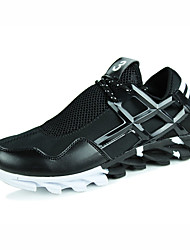 Men's Comfort Leatherette Casual Flat Heel Black White