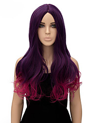 Capless Long Synthetic Purple And Rose Color Wavy Synthetic Womens Wigs