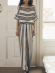 SINCE THEN Women's Striped White Blouse,Round Neck ½ Length Sleeve