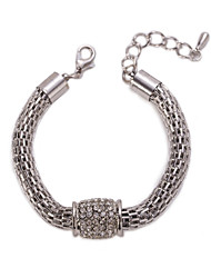 Silver Hollow Chain & Link  Crystal Charm Bracelet