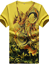Men's Slim Chinese Style Dragon Pattern Printed Short Sleeved T-Shirt,Cotton / Polyester Casual / Plus Sizes Print
