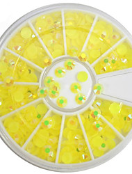 1pcs 4mm Round Bowl Nail Art Lemon Yellow Flat Rhinestones Nail Art DIY Decoration NC307