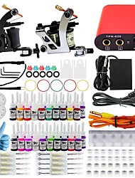 Professional Complete 2  Tattoo Machine Kit 40PCS Ink Power Supply Needle Grips Tips