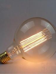 E27 AC220V-240V 40W Edison Retro Silk Carbon Filament Incandescent Light Bulbs G125 Straight Wire Pearl