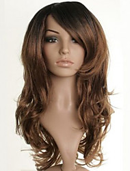 New Long Brown Yellow Wavy Hair Synthetic Wig