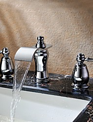 Deck Mounted Two Handles Three Holes in Chrome Bathroom Basin Sink Waterfall Faucet Luxury