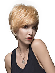 Natural Straight Inclined Bang Capless short Remy Human Hair Hand Tied -Top Woman's Wig