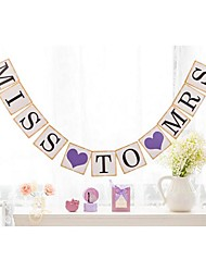 Pretty Vintage Miss To Mrs with 2 Purple Hearts Bridal Shower Hen Party Banner Buntings