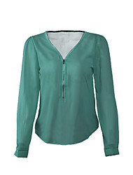 Women's Sexy Casual Plus Sizes Inelastic Long Sleeve Regular Blouse (Chiffon)