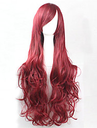 Europe And The United States The New Color Wig 80 CM High Temperature Silk Deep Red Curly Hair Wig