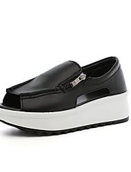 Women's Shoes Leatherette Platform Peep Toe / Platform Sandals Outdoor / Office & Career / Dress Black / White / Beige