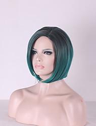 дешевые черные смешанный мяты зеленый парик афроамериканца короткие парики для чернокожих женщин Ombre парик тепла