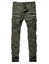 Men's Military Army Green Slim Stretch Denim Biker Jeans
