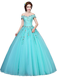 Formal Evening Dress Ball Gown Off-the-shoulder Floor-length Tulle with Appliques / Crystal Detailing