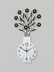 Modern Creative Fashion Vase Metal Mute Wall Clock