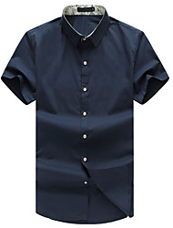 Men's Plus Size 7XL Solid Business Slim Fit Casual Short Sleeve Shirt, Cotton / Casual / Plus Sizes