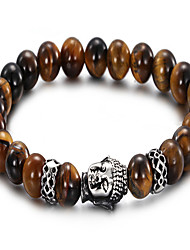 Kalen®Factory Direct Selling Jewelry Men's Brown Tiger Eyes Beads Stainless Steel Buddha Bracelet