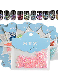 1set входит 12 цветов бумажные карты ногтей блеск красивая геометрическая форма, как наклейки оболочки украшения искусства ногтя