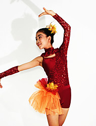Ballet Leotards Women's / Children's Performance Lace / Tulle / Lycra Lace / Sequins Long Sleeve Natural